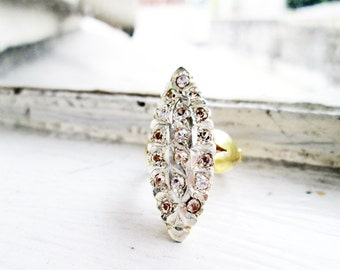 Vintage Lasadera Navette Shaped Ring Silver in Gold Plated finish with Cubic Zirconia (US Ring Size 5.5)