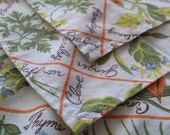 Herbs and Spices Cotton Dinner Napkins Set of Four Vintage Cottage Chic Floral Botany Kitchen Table