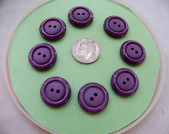 Set of 8 Vintage Thick Plastic Purple Buttons Textured Tops