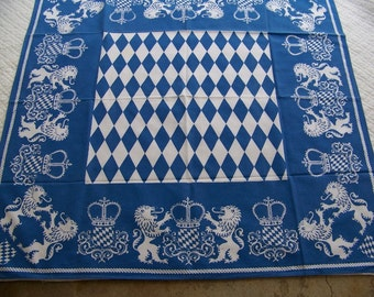 Vintage Blue & White Heraldry Tablecloth  Bavaria ? Octoberfest ?