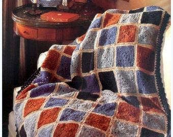 Granny Square Afghan, Crochet Pattern, Lap Throw Blanket Pattern