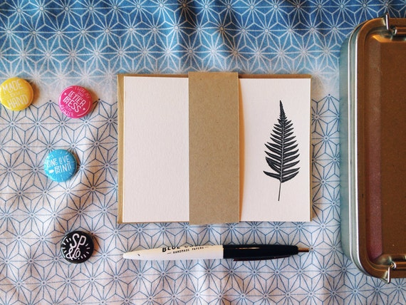 Fern Silhouette Flat Note Cards / Set of 4 Letterpress Printed A2 Flat Note Cards with Envelopes
