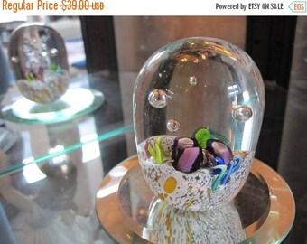 ON SALE Millefiori Handblown Glass Paperweight