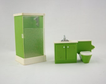 Vintage Fisher Price Doll Furniture, Mid Century Modern, Miniature Toilet