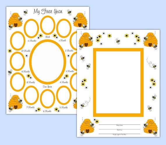 digital scrapbook kit baby first year bumble bee premade pages memory book photo templates. Black Bedroom Furniture Sets. Home Design Ideas
