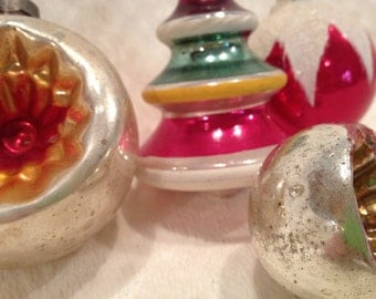 Set of Four Vintage Pink and Gold Christmas Ornaments