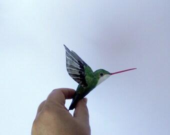 humming bird art Colibri paper mache sculpture bird  ornaments