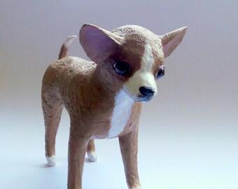paper mache art dog sculpture chihuahua figurines