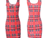 Punk Tartan Dress. Pencil Dress. Dance wear. Rave wear.  Club wear. Red. Black