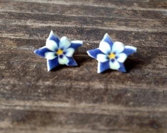 Columbine earrings blue flower jewelry floral nature stud post