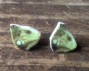 green iguana earrings jewelry lizard reptile