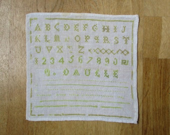Antique french alphabet sampler, Vintage abecedaire 1920, Embroidery, France, Marquoir, Home decor, Wall hanging