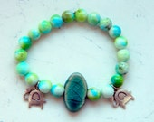 Cracked Turquoise Ceamic Bead Blue Green White Jade Beads Elephant Charms Elastic Bracelet - Inspired by Black Sails