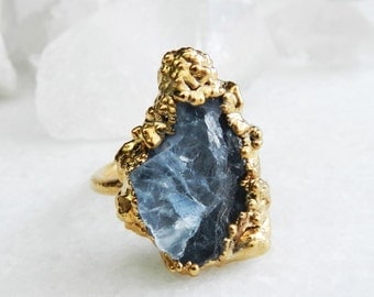 raw celestite ring, crystal ring, gold ring, celestite, ooak ring, raw gemstone jewelry, druzy ring, druzy gold