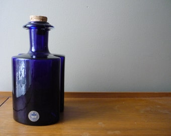Vintage 'Hiverten' Schnapps Bottle, Blue Collectable Danish Modern Glass, Holmegaard, Denmark