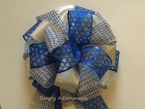 Hanukkah Celebration Decor Royal Silver Hanukkah Decor Blue Star of David Bow Topper Gift Bow Royal Silver Hanukkah Door Bow Blue Gift Bow