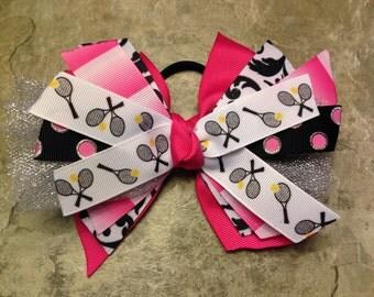 Tennis bow - Tennis hair bow - hot pink tennis hair bow - tennis hairbow - pink black tennis bow - pink tennis ponytail - tennis ribbon
