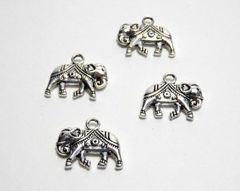 elephant pendant,charm -  silver tone- two charms (2) 19.5mm
