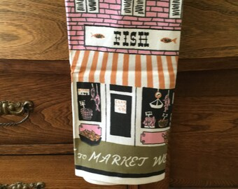 Vintage Luther Travis Tea Towel, Mid Century, Linen Tea Towels, Fish Market Design, Green, Pink, Black, Towels, Housewares, Kitchen, Linens