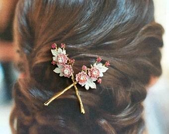 Pink White Enamel Flower Hair Pins Bridal Jewelry Vintage 1940 Flowers Rhinestone Enamel Leaf Leaves Decorative Hairpins Bobby Pins