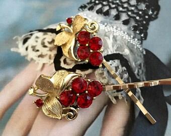 Lisner Red Grape Decorative Bridal Hair Pins  Jewelry Vintage 1950 1960 Rhinestone Cluster Leaf Hairpins Bobby Pins