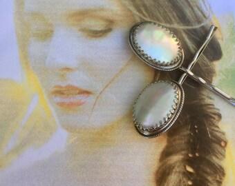 MOP Mother Pearl Decorative Bridal Hair Pins Vintage Whiting Davis Wedding 1940 1950 Hair Bobby Pins