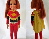 """ON SALE Vintage 1977 Ideal Electroman Jumpsuit Outfit, Fits Ideal Crissy Doll, 18"""" Doll Outfit, Doll Clothes, Red, Yellow, Black"""