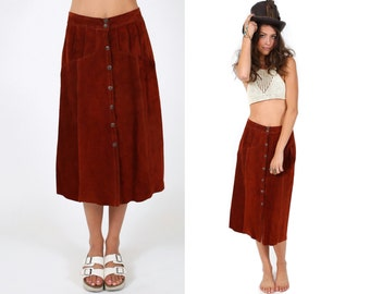 Rust Suede Leather Skirt Vintage Circa 1978 -  Maxi calf length full length