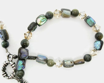 Abalone Bracelet beaded bracelet unique jewelry handmade with Swarovski golden shadow crystals gift for her Birthday Mothers Day Graduation