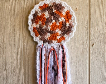 Doily Dream Catcher, Orange, Brown and White
