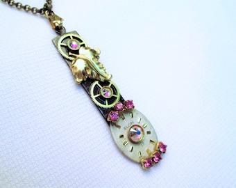 STEAMPUNK Necklace Vintage ELGIN Watch Parts Gear Long Pendant PINK Brass Gold Leaf Leaves Face Dial Swarovski by DKsSteampunk