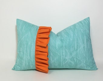Ruffle pillow cover. Aqua lumbar pillow cover. Orange ruffle pillow cover, 12x18 decorative sofa throw pillow, aqua & orange home decor
