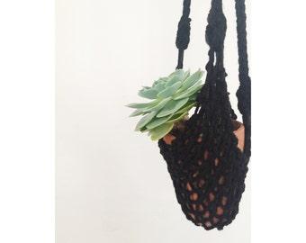 Handknit Hanging Planter in Black  , Indoor Planter, Boho Home
