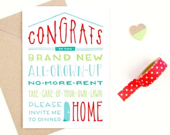 congrats on your new home card - new house card - recycled paper