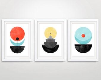 living room art prints. Geometric Large Wall Art Set of 3  Prints Abstract Living room art Etsy