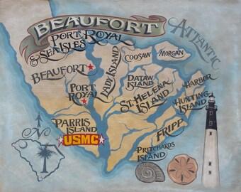 Beaufort  SC  map -islands  Print