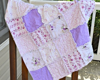 Purple Baby Rag Quilt- Ready to ship quilt, purple rag quilt, one of a kind rag quilt, shabby chic rag quilt, baby shower gift,baby girl rag