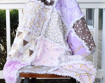 Purple rag quilt, ready to ship rag quilt, deer rag quilt, bird rag quilt, lavender rag quilt, toddler rag quilt, small lap quilt