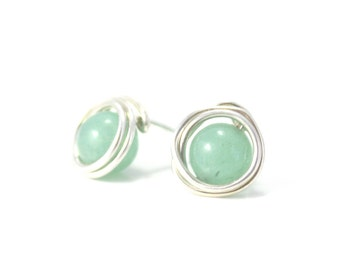 Green Aventurine and Sterling Silver Post Earrings / Wire Wrapped Jewelry / Simple Silver Jewelry / Gifts under 20 / E303