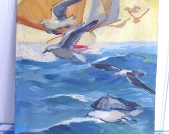 Nautical Oil Painting Sailboat Birds 1920s Listed Artist O Herbig Unframed Oil On Board