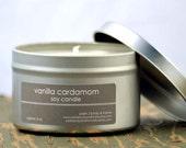 Vanilla Cardamom Soy Candle Tin 8 oz. - vanilla candle - cardamom candle - cake batter candle - sweet candle - unisex candle - food candle
