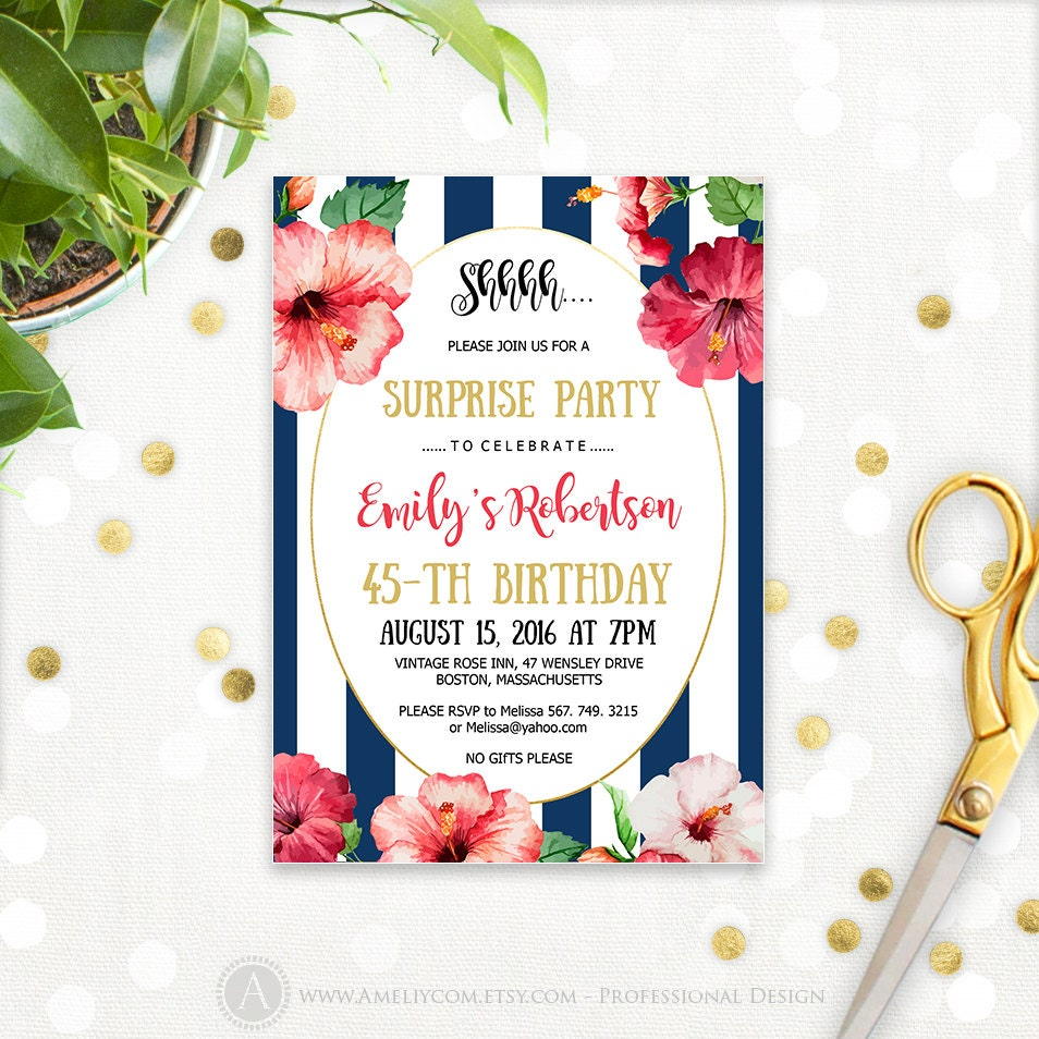 Hawaiian Birthday Invitations Printable Tropical Surprise - Editable birthday invitations for adults