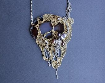 VALIRIYA Art Statement Bib Necklace - Grey Agate Slice and Brass Wire Crochet Necklace - Fantasy Freeform Pearls Necklace - Natural Gemstone