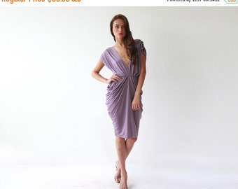Short bridesmaids purple dress , Knee length formal dress