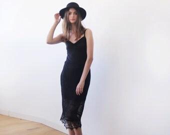 Black lace knee length skirt, Black pencil skirt, Lace midi black skirt 3031