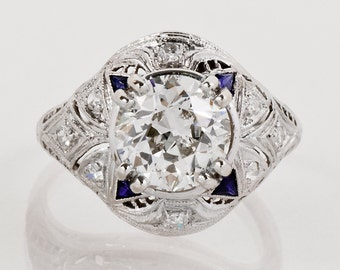 Antique Engagement Ring - Antique Art Deco 2.54ctw Diamond and Sapphire Platinum Engagement Ring