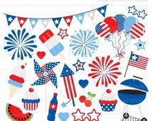 50% OFF SALE Clipart - 4th of July Party / Independence Day Clipart - BBQ / Fireworks / Balloons - Digital Clip Art (Instant Download)