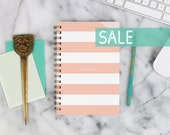 """SALE! 2016 Weekly Planner """"Peach Stripes"""" with monthly spreads, back pocket, stickers, adhesive tabs and more"""