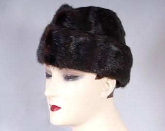 Vintage Real Mink Fur Russian Winter Hat// Vintage Mens Brezhnev Gorbachev Russian Chapka Fur Hat