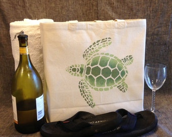 Loggerhead Turtle Canvas Tote